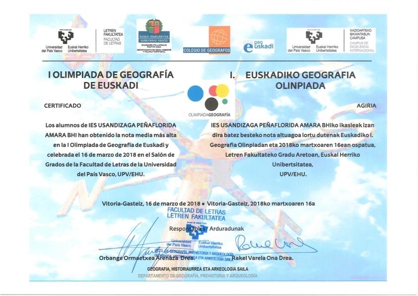 I.Olimpiada de Geografía de Euskadi - IX.Olimpiada de Geografía de España